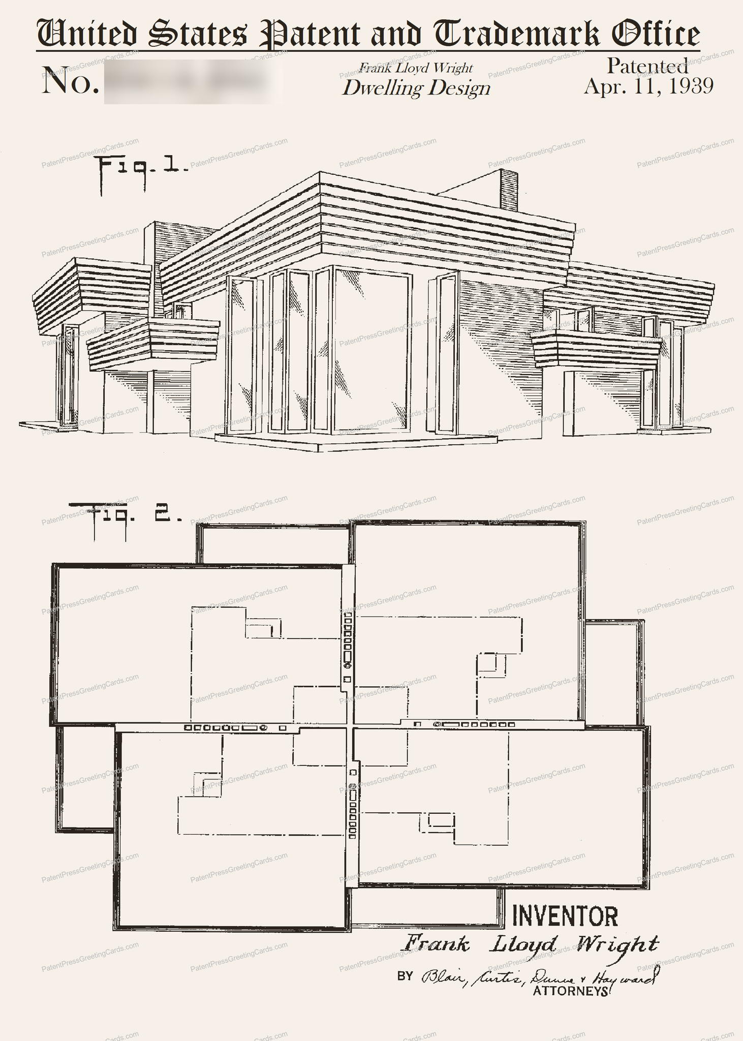 CARD-180: Frank Lloyd Wright House - Patent Press™