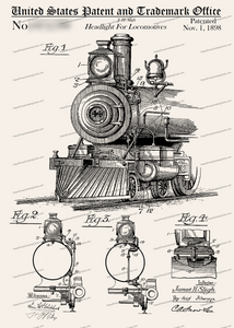 CARD-213: Locomotive Headlight - Patent Press™