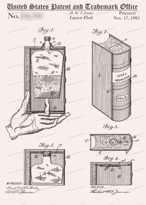 CARD-283: Book Flask-Book Lover - Patent Press™