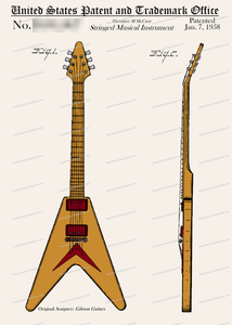 CARD-C910: Flying V Guitar - Patent Press™