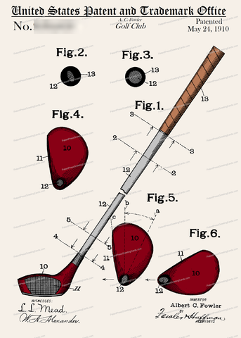 CARD-C911: Golf Club 1910 - Patent Press™
