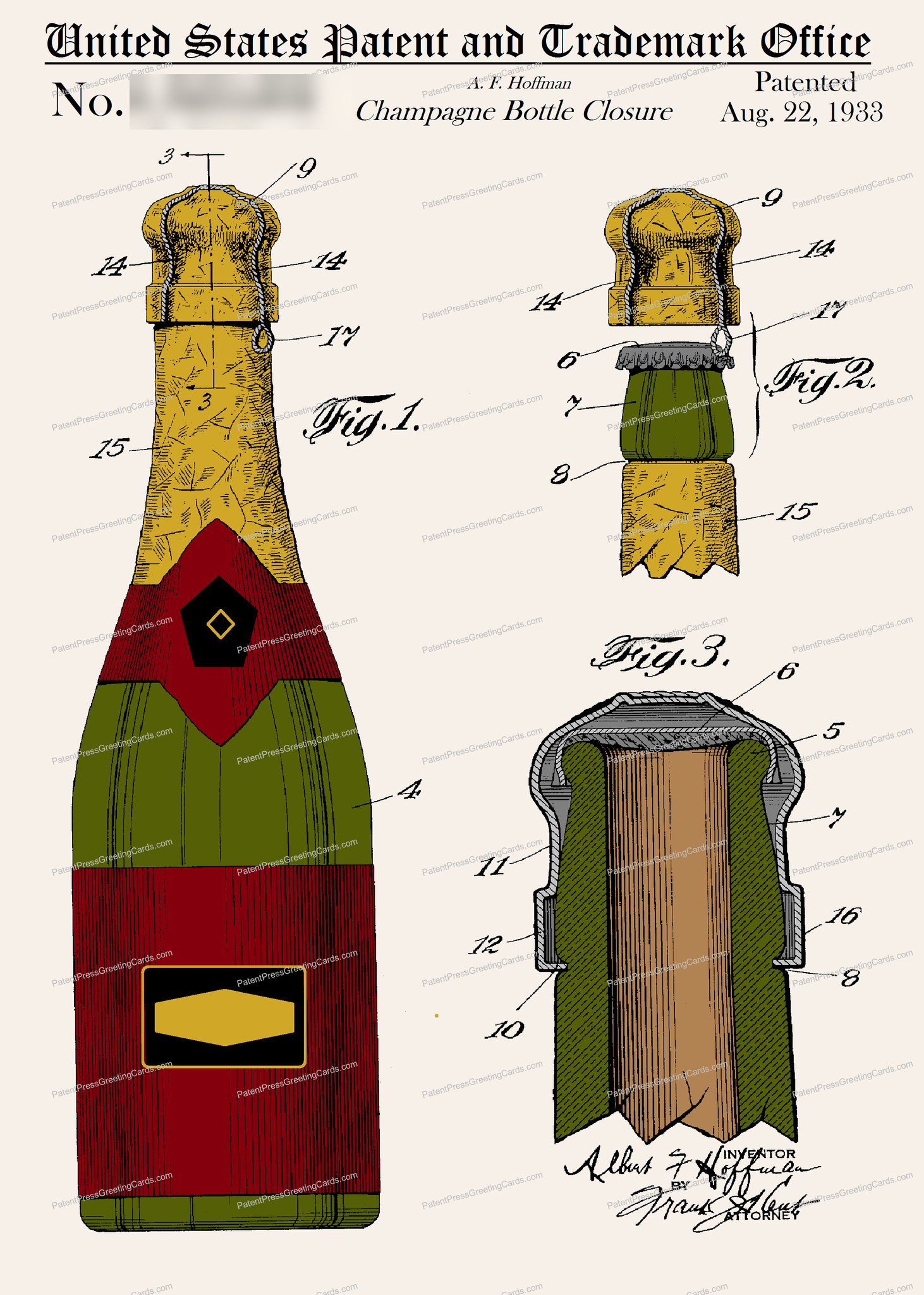 CARD-C942: Champagne Bottle - Patent Press™