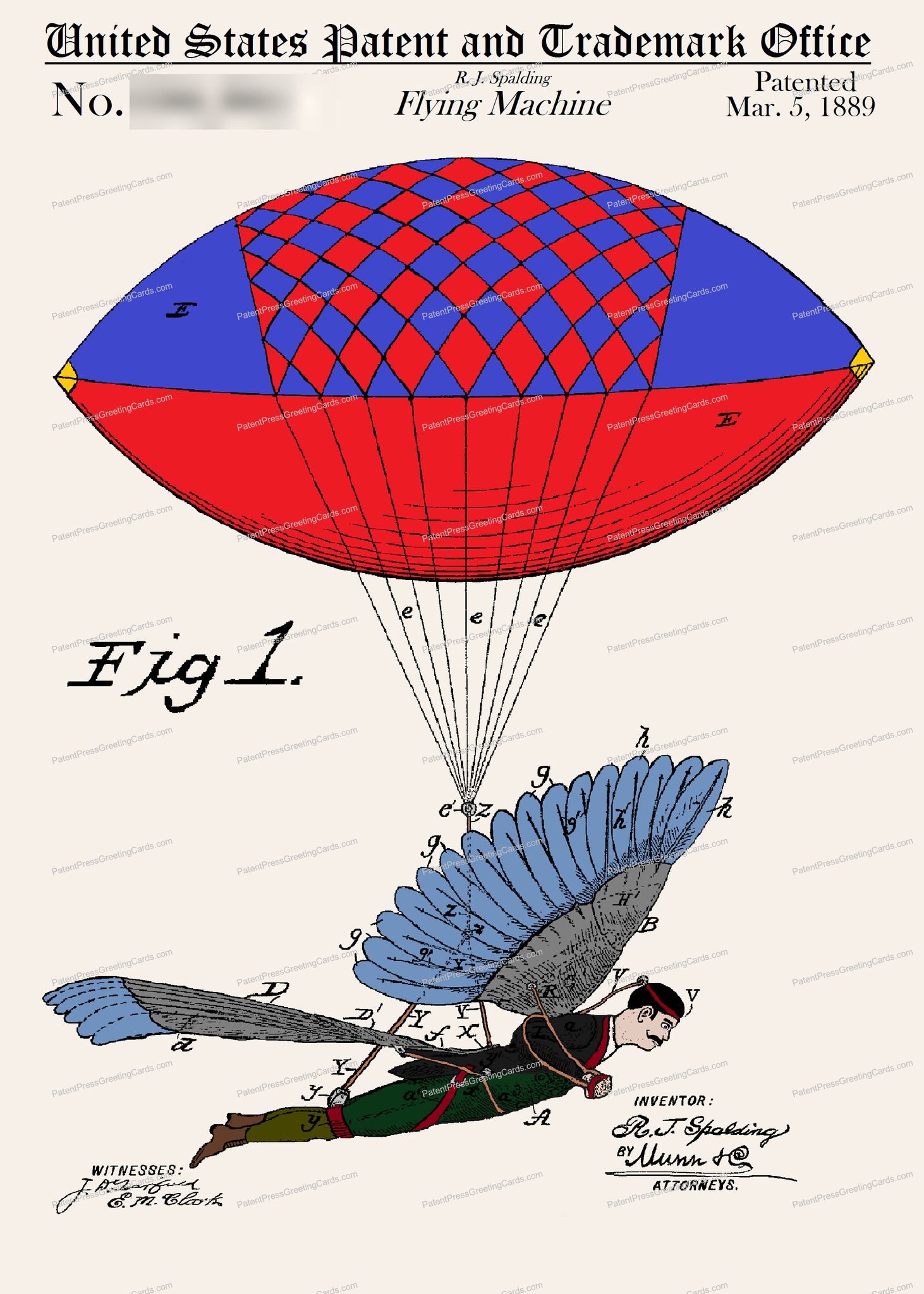 CARD-C944: Flying Machine - Patent Press™