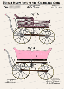 CARD-C959: Baby Carriage (PINK) - Patent Press™