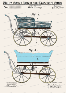 CARD-C960: Baby Carriage (BLUE) - Patent Press™