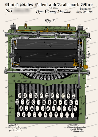 CARD-C964: Type Writer - Patent Press™