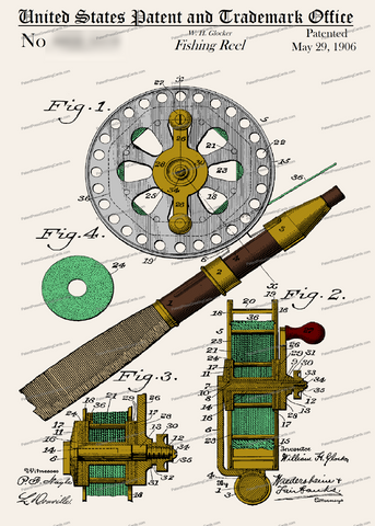 CARD-C976: Fishing Reel - Patent Press™