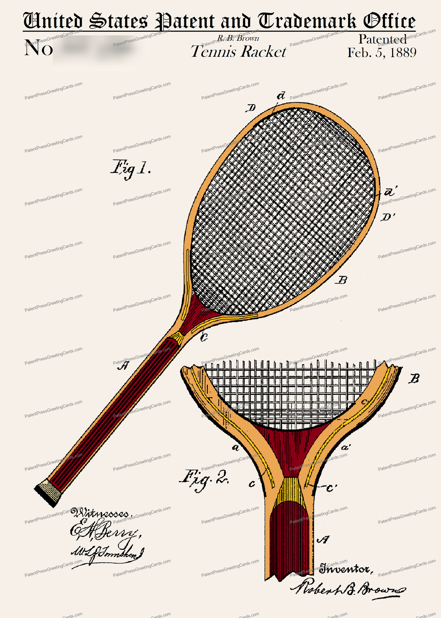 CARD-C993: Tennis Racket - Patent Press™