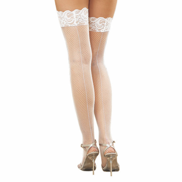 0001 Dreamgirl White Fishnet Thigh High Hold Ups Silicone Lace Top Back Seam
