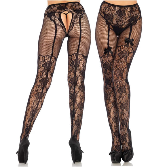 LA1936 Leg Avenue Fleur De Lace Suspender-Illusion Tights