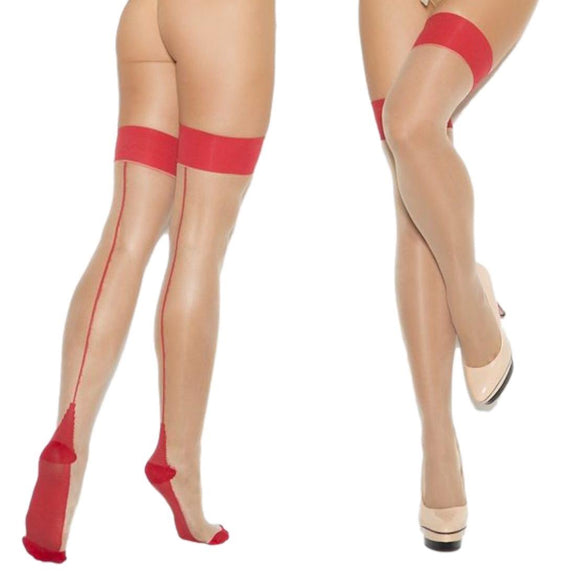 EM1110 Elegant Moments Nude-Red Cuban Heel Thigh High Stockings
