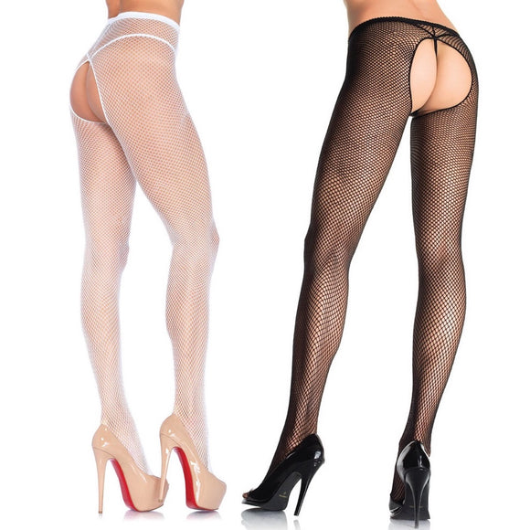 LA1404 Leg Avenue Crotchless Bare Bottom Tights 2 Pair Pack