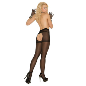 EM1726 Elegant Moments Black Sheer Crotchless Tights 2 Pairs
