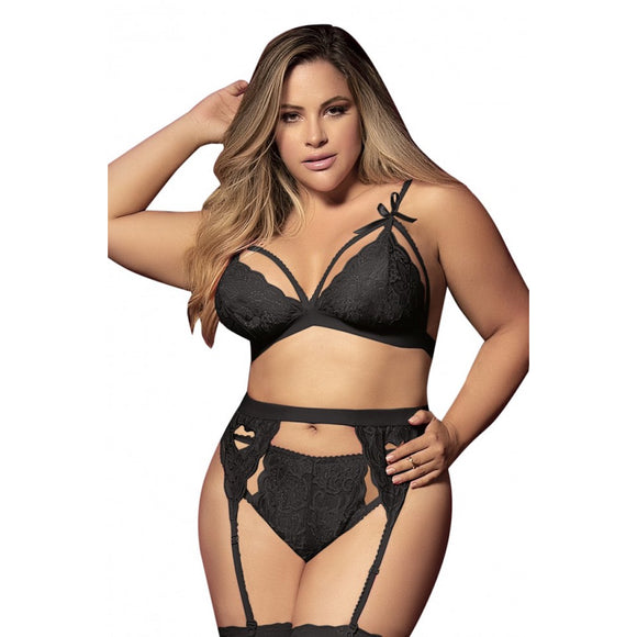 8221 Mapale Black Plus Size 3 Piece Garter Set