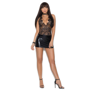 EM88047 Elegant Moments Lace Mini-Dress with Vinyl-Skirt