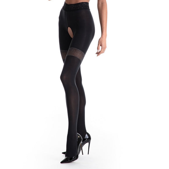 Amour Glamour 80D Opaque Open-Crotch Tights