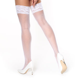 S605 MissO White Lace Top Fishnet Hold-Ups