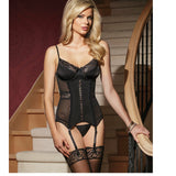 CQ1430 Powernet Underwire Boned Lace Trim Bustier