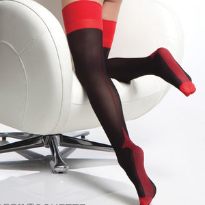 CQ1766 Opaque Cuban Heel Suspender Stockings