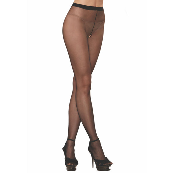 D0082B Dreamgirl Sheer Open-Gusset Pantyhose Black