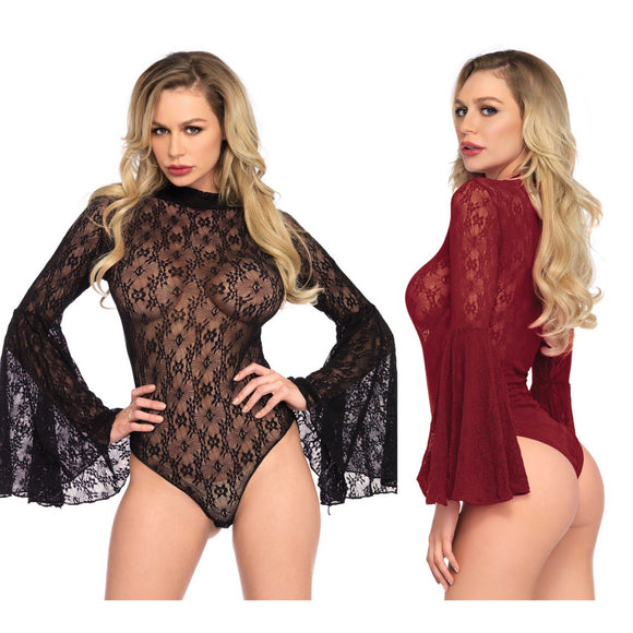 LA89208 Leg Avenue Lace Retro Bell-Sleeve Bodysuit