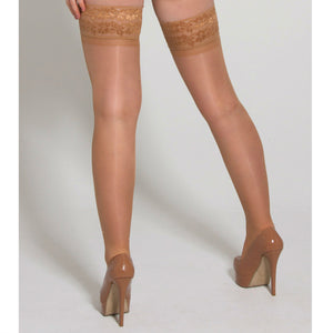 EL400 Essexee Legs 15D Natural Gloss Lace Top Stay Ups