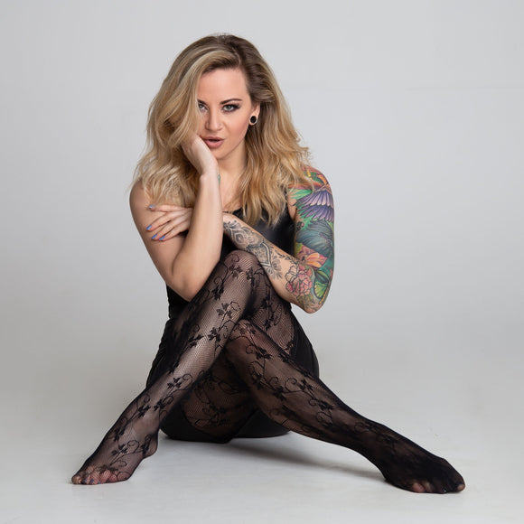 EL468 Essexee Legs Linear Floral Fishnet Tights