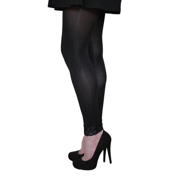 EL531 Essexee Legs 100D Footless Tights with Lace Trim