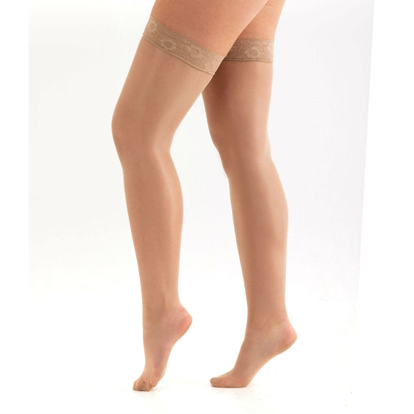 EL796 Essexee Legs 10 Denier Lace Top Gloss Hold-Ups Natural