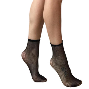 ANK151 Jonathan Aston Fishnet Ankle Socks. Black or Ivory.
