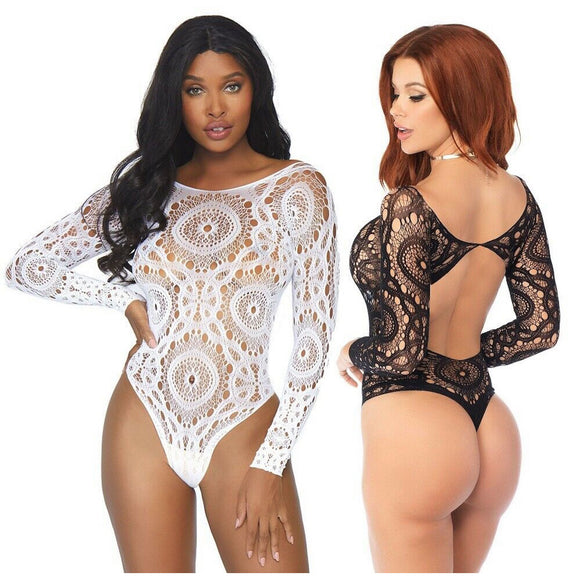 LA89161 Leg Avenue Crochet Teddy with Thong-Back