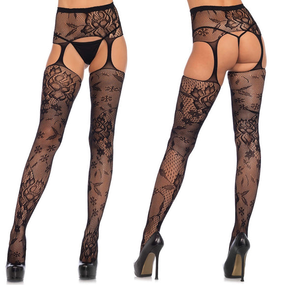 LA1082 Leg Avenue Floral Lace High Waist Suspender Garterbelt Tights