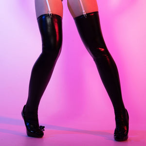 LA62 Leg Avenue Wet Look Suspender Stockings