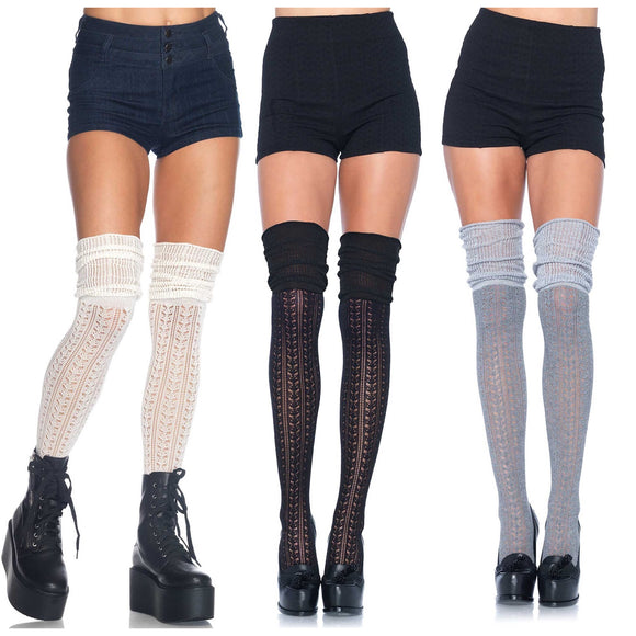 LA6906 Leg Avenue Pointelle Over-Knee Scrunch Socks
