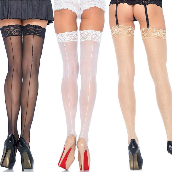 LA1101 Leg Avenue Sheer Lace Top Stockings with Backseam