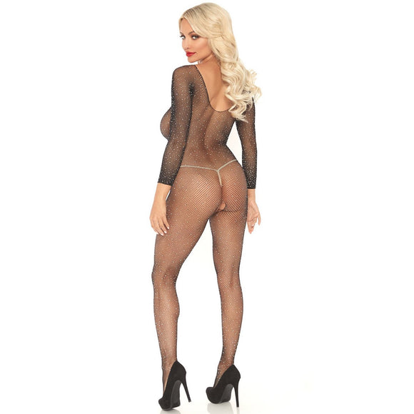 LA89233 Leg Avenue Rhinestone Long Sleeve Fishnet Bodystocking