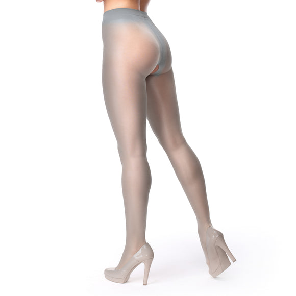 P102 MissO 40D Shiny Open Gusset Pantyhose Gray