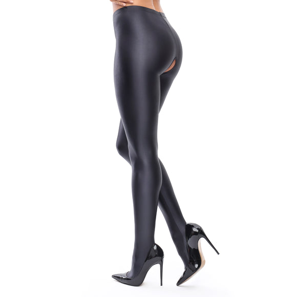 P800 MissO Glossy Opaque Open-Gusset Pantyhose 120D