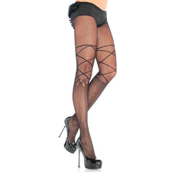 LA25 Leg Avenue Lace Up Print Tights