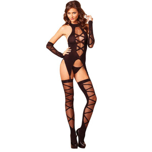 LING085 Leg Avenue 3 pc Faux Lace Up Cami Garter Set