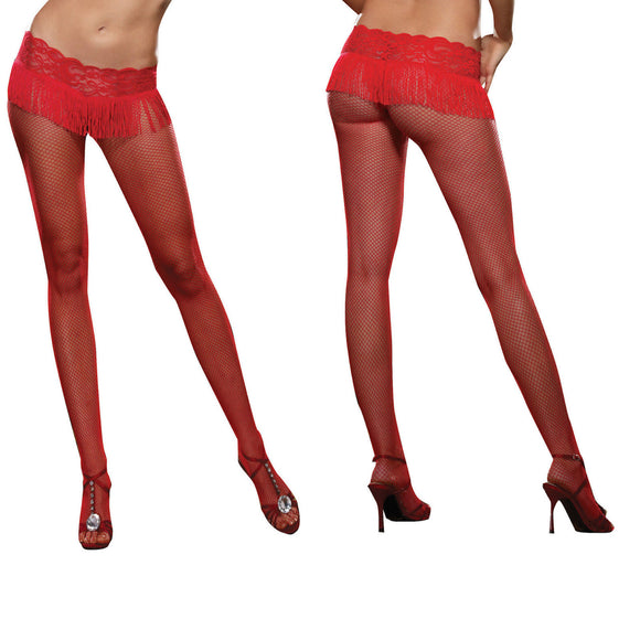 D0131 Dreamgirl Red Fishnet Tights with Fringe Top