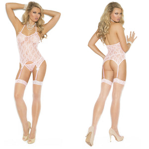LING059 Elegant Moments 3 pc Pink Lace Cami Stockings G-String Set