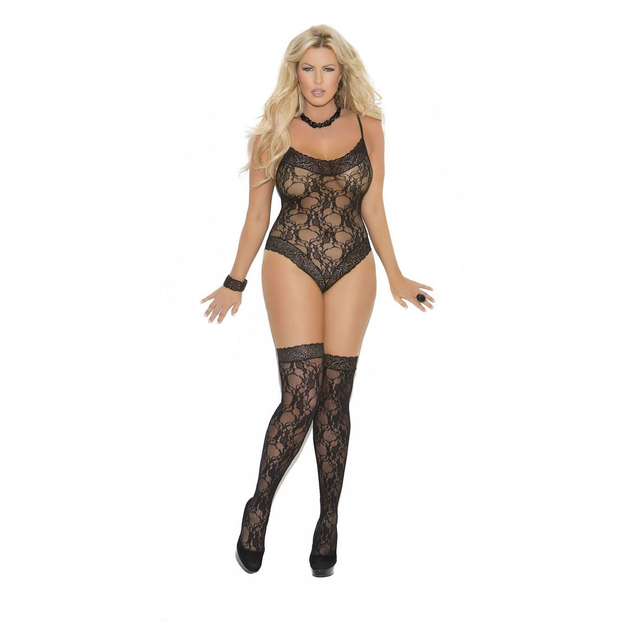 ELEGANT MOMENTS TEDDY GOLD AND BLACK LACE ADJUSTABLE GARTERS AND STRAPS  SIZE