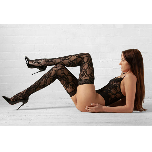 LING040 Elegant Moments Black Lace Teddy & Stockings Set