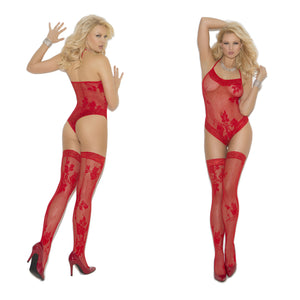 LING061 Elegant Moment Red Lace Teddy & Stockings Set