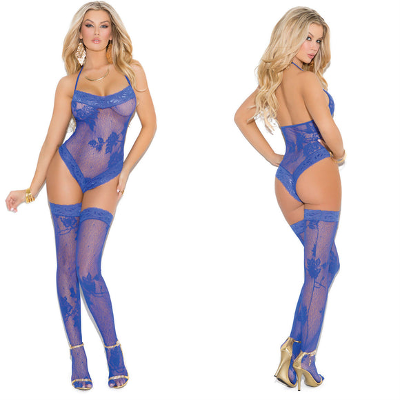 LING057 Elegant Moments Royal Blue Lace Teddy & Stockings Set