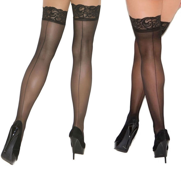EM1702 Elegant Moments Lace Top Seam Stockings