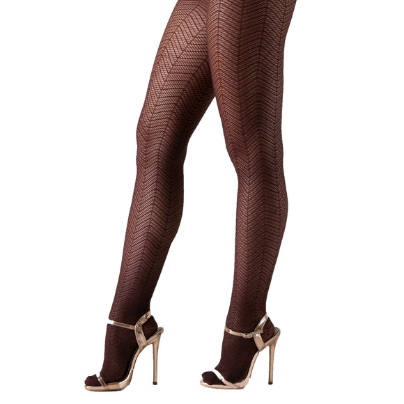 EL437 Essexee Legs Herringbone Pattern Tights Chocolate