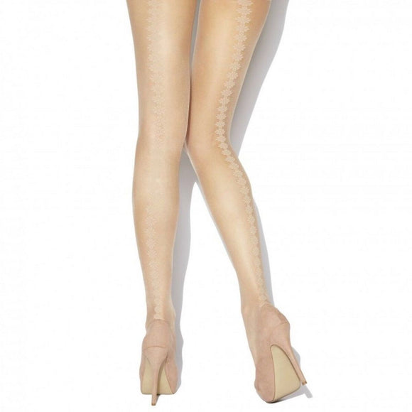 CHA871 Charnos Natural Backseam Floral Tights