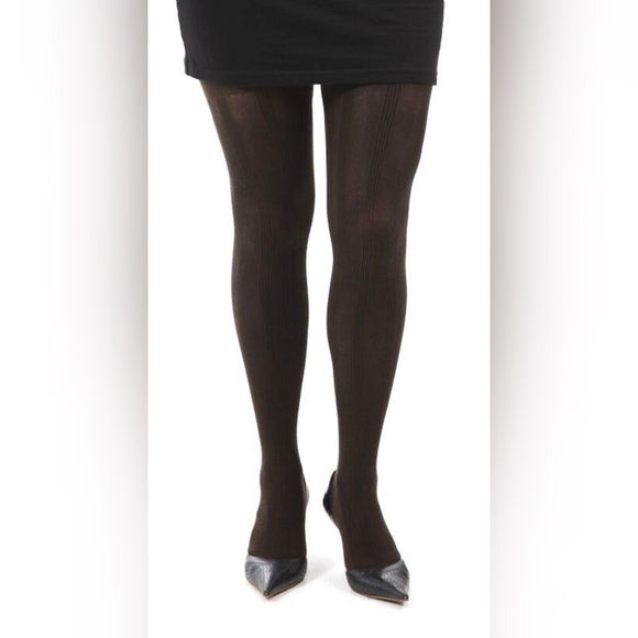 WW612 Pamela Mann Rib Chevron Tights Chocolate
